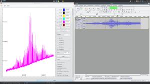 Пульсар слева. Полученная из него звуковая дорожка справа.